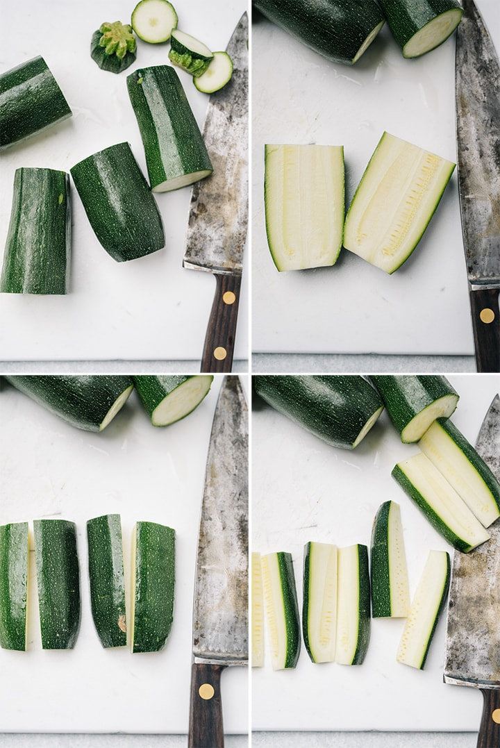 A collage showing how to cut zucchini into wedges for baked fries.