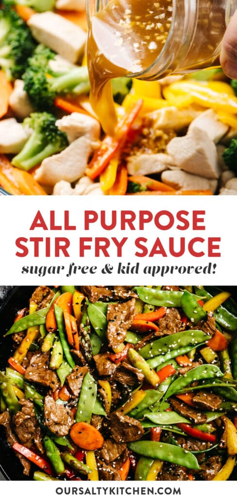 Pinterest collage for a recipe for all purpose stir fry sauce.