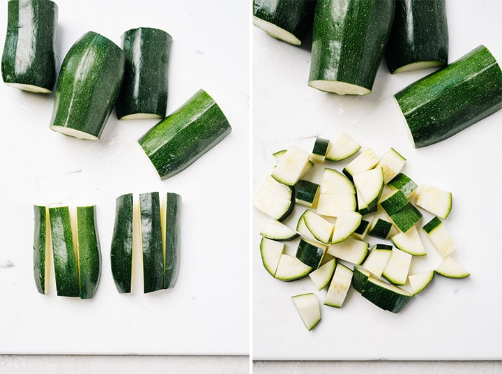 A collage showing how to cut zucchini into bite sized pieces.