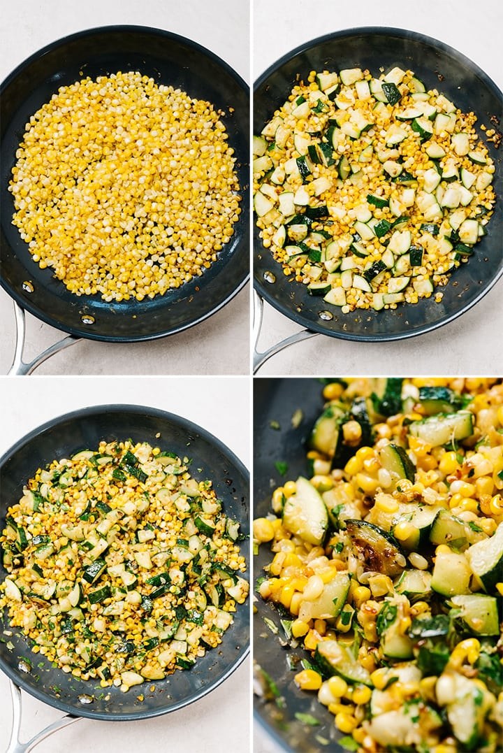 A collage showing how to make sauteed zucchini with corn in a skillet.