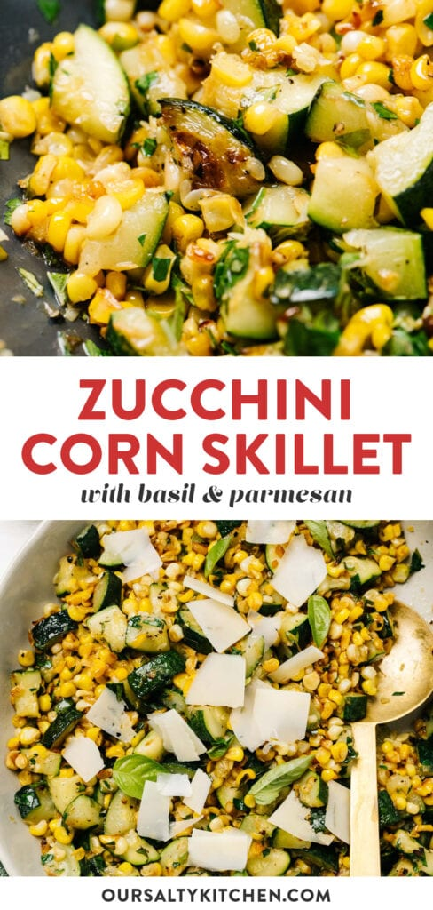 Pinterest collage for a recipe for sautéed zucchini and corn.