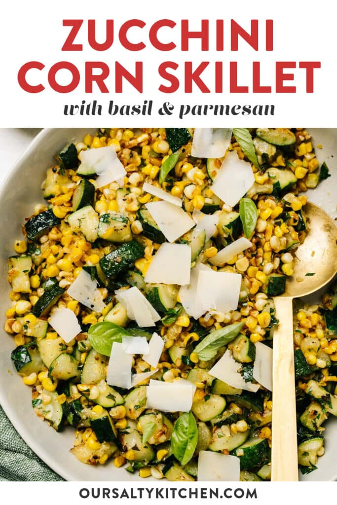 Pinterest image for a recipe for sautéed zucchini and corn.
