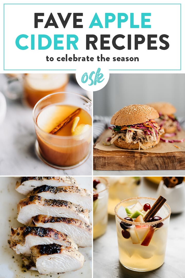A collage of recipes featuring apple cider.