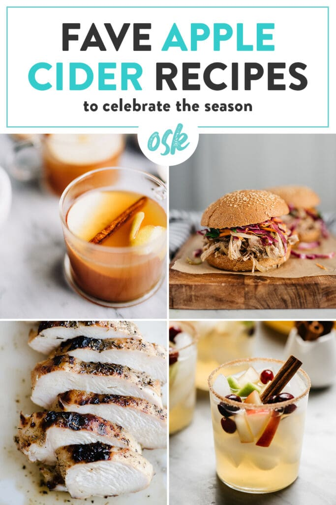 Pinterest image for a collection of recipes using apple cider.