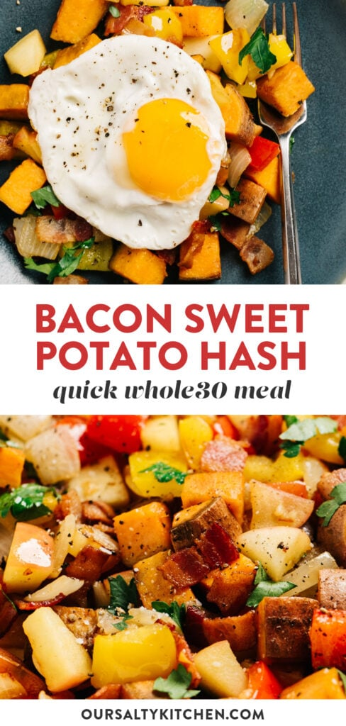 Pinterest collage for bacon sweet potato hash recipe with apples and bell peppers.