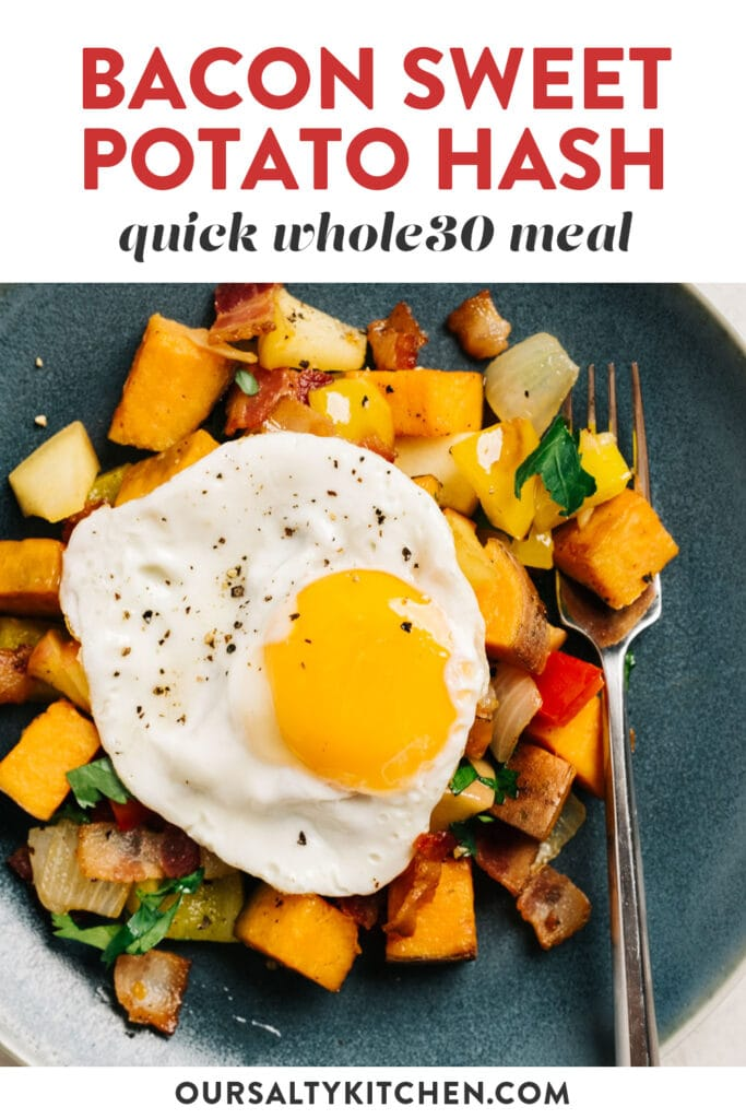 Pinterest image for bacon sweet potato hash recipe with apples and bell peppers.