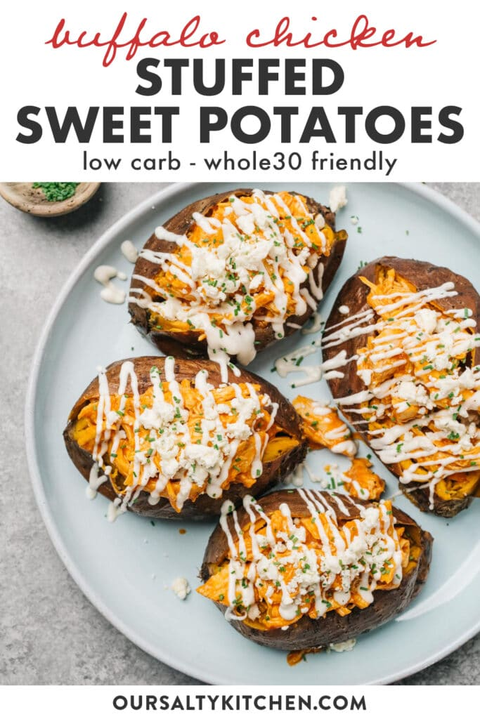 Pinterest image for baked sweet potatoes stuffed with buffalo chicken.