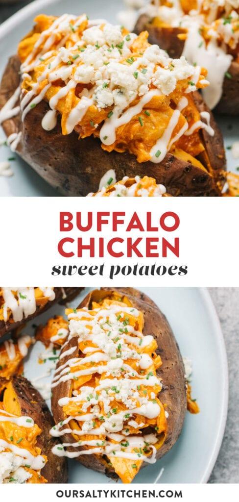 Pinterest collage for a buffalo chicken stuffed sweet potatoes recipe.