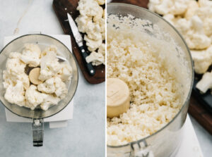 Side by side images showing how to rice cauliflower florets in a food processor.