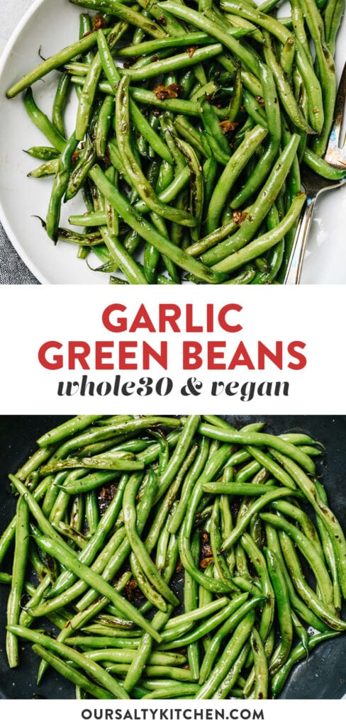 Pinterest collage for a garlic green beans recipe.