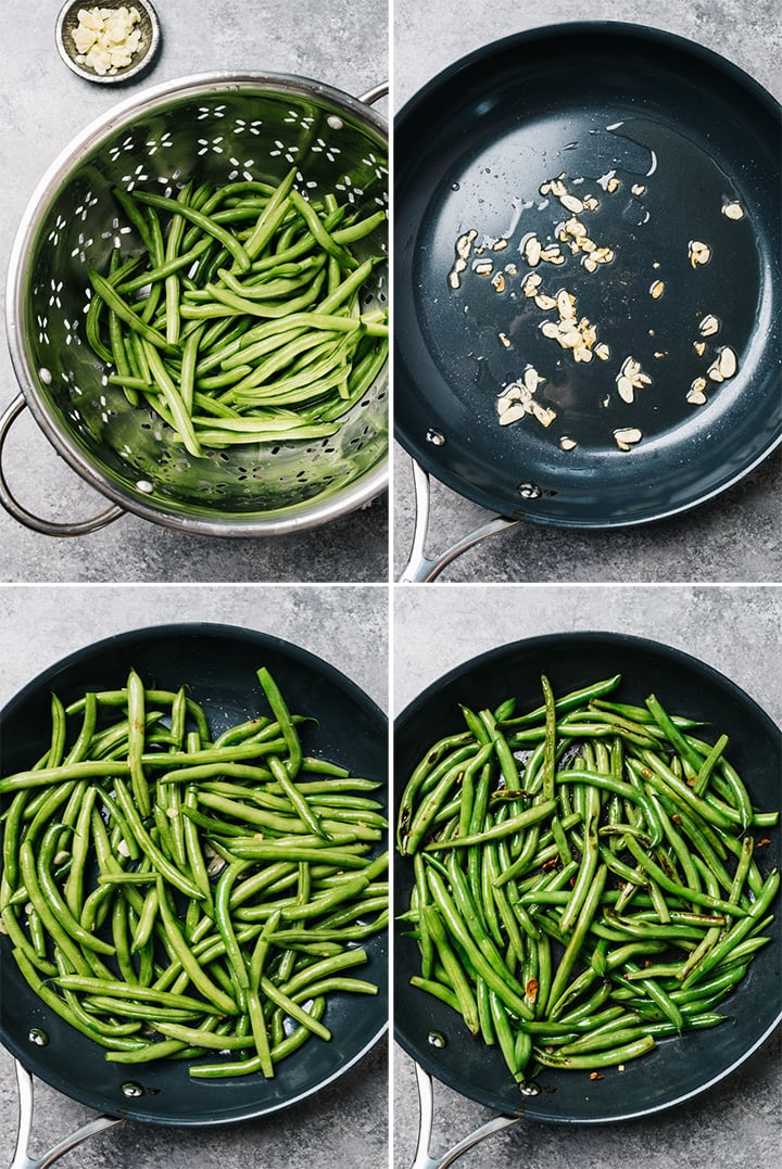 A collage showing how to sautee fresh green beans with garlic.
