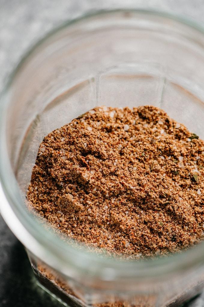Keto friendly taco seasoning mixed in a jar.