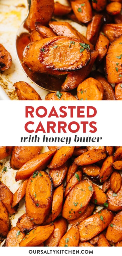 Pinterest collage for a honey roasted carrots recipe.
