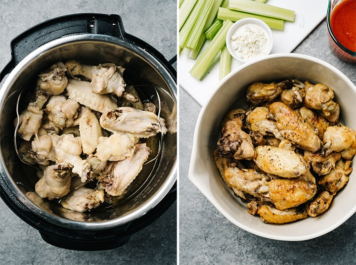 Chicken wings in an instant pot; crispy buffalo wings in a bowl with a side of buffalo sauce.