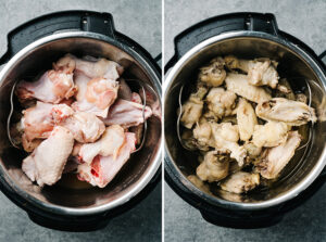 Chicken wings before and after being steamed in an instant pot.