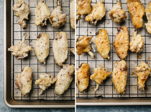 Instant pot chicken wings before and after being crisped in the oven under the broiler.