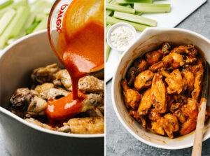 Pour buffalo sauce over chicken wings; a bowl of crispy instant pot buffalo chicken wings.