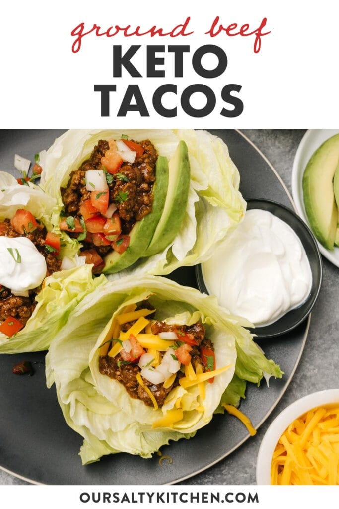 Pinterest image for a keto ground beef taco recipe.