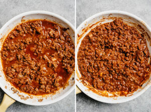 Keto ground beef taco meat in a skillet before and after being thickened.