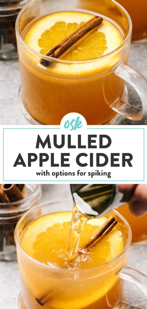 Pinterest collage for a mulled apple cider recipe with options for spiking.