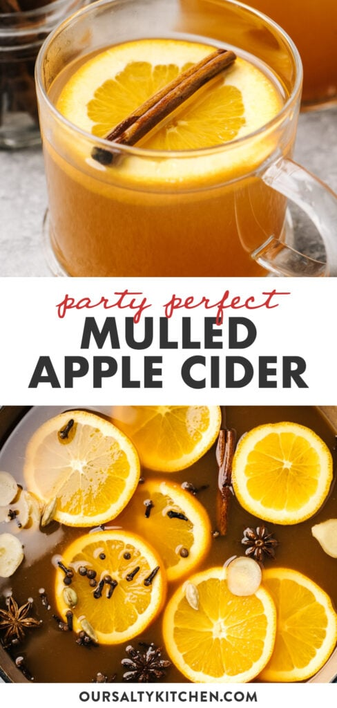 Pinterest collage for a mulled cider recipe with options for spiking.
