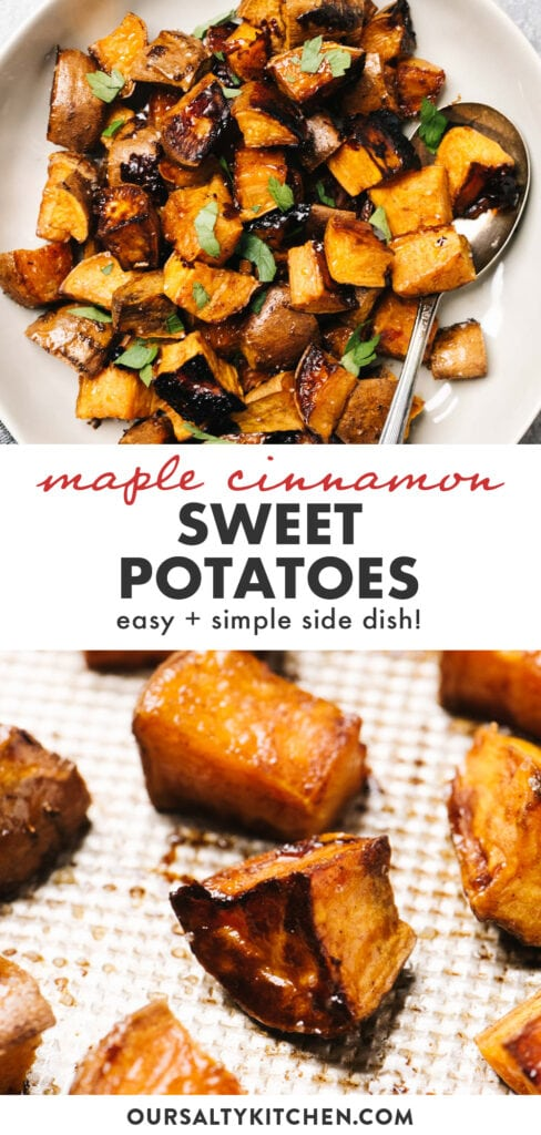Pinterest image for roasted sweet potatoes with cinnamon and maple syrup.
