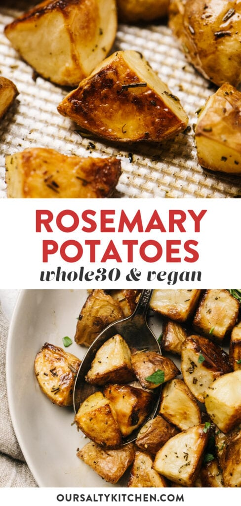 Pinterest collage for a rosemary roasted potato recipe.