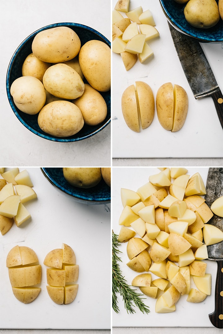 A collage showing how to dice yukon gold potatoes into one inch cubes for roasting.