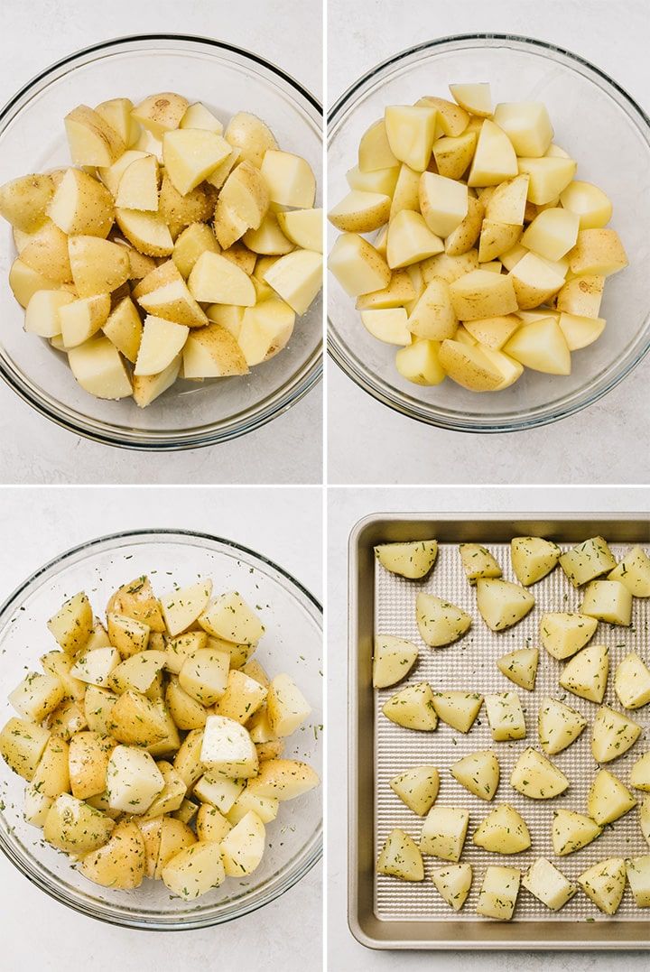 A collage showing how to par-cook, season, and then roast potatoes with rosemary.