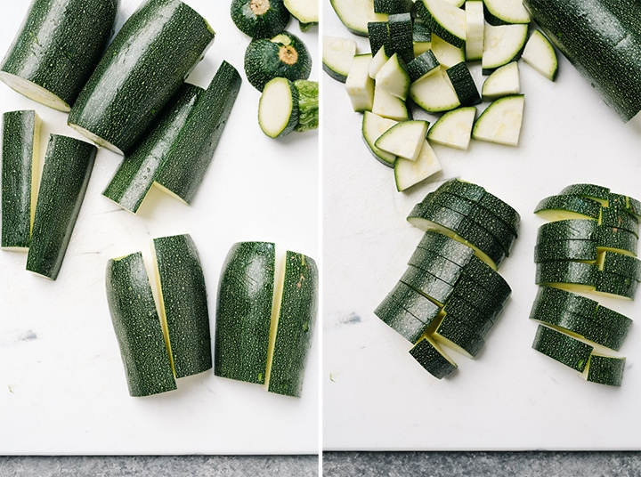 Two images showing how to slice zucchini into bite sized pieces.