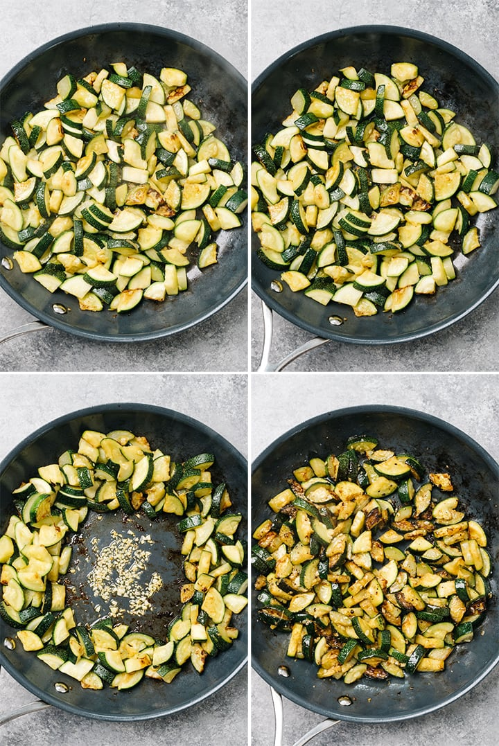 A collage showing how to make crispy sautéed zucchini in a non-stick skillet.