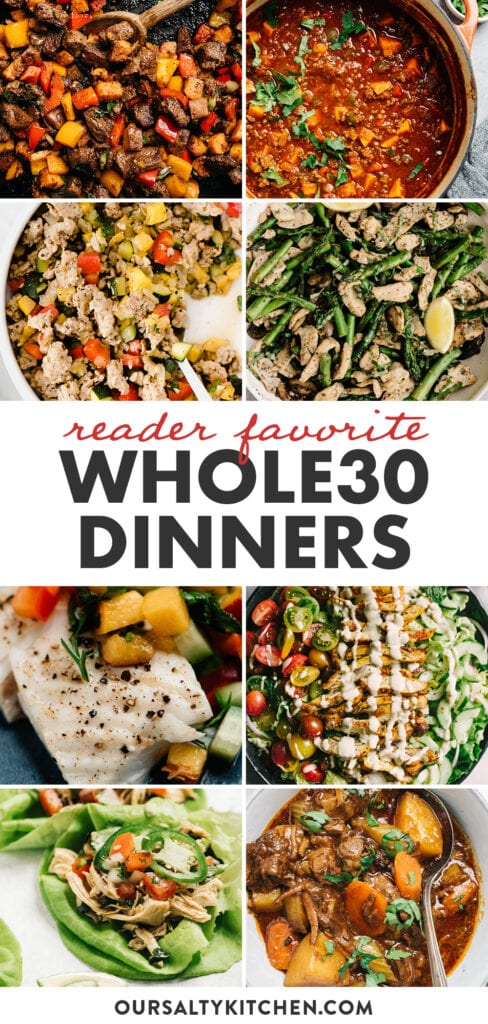 Pinterest collage for a collection of Whole30 dinner recipes.