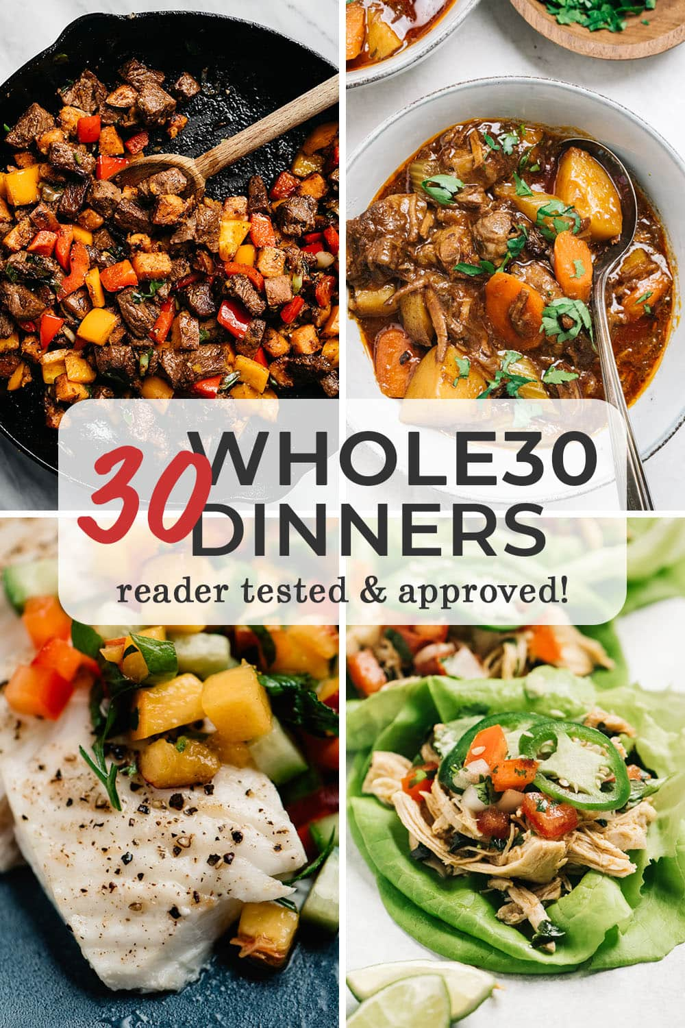 A collage of Whole30 dinner recipes.