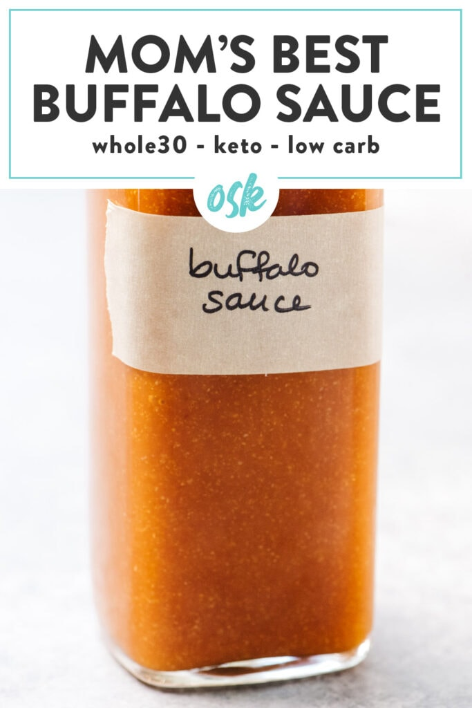 Pinterest image for homemade buffalo wing sauce.