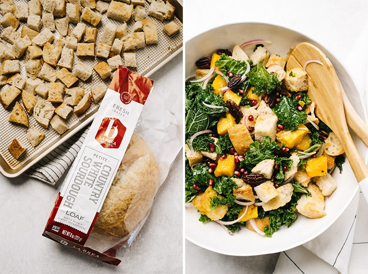 Left - a loaf of sourdough bread and toasted sourdough cubes on a baking sheet; Right - A bowl of butternut squash panzanella.