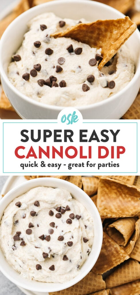 """Pinterest collage for an easy recipe for cannoli dip with waffle cone """"chips""""."""