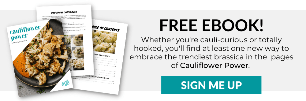 An opt in banner to receive the free ebook Cauliflower Power.