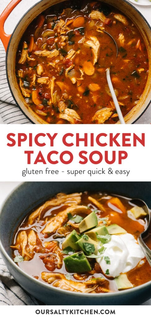 Pinterest collage for a chicken taco soup recipe.