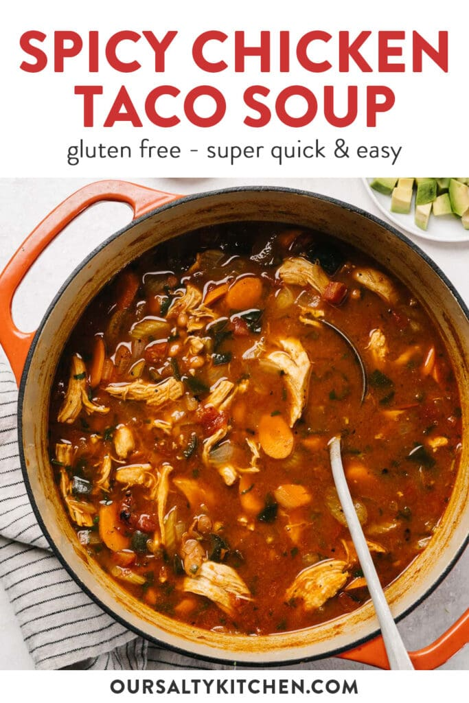 Pinterest image for a chicken taco soup recipe.