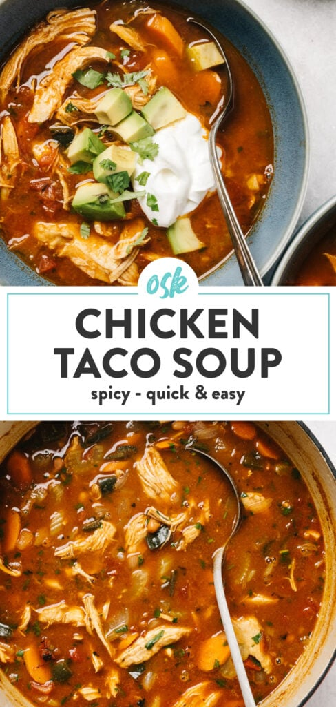 Pinterest collage for a taco soup recipe with chicken, poblanos, and beans.
