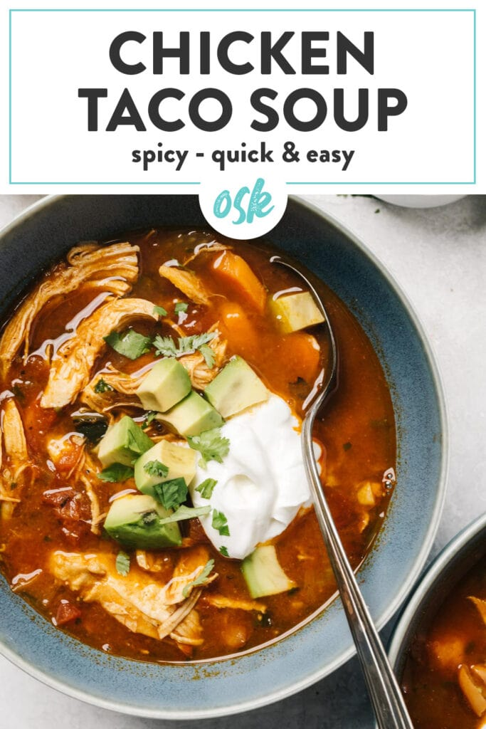Pinterest image for a taco soup recipe with chicken, poblanos, and beans.