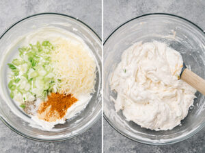 Sour cream, yogurt, and cream cheese mixed with onions, cheese, and seasonings in a mixing bowl.