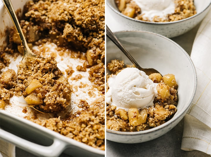 Left - gluten free apple crisp with several servings removed in a casserole dish; right - apple crisp with gluten free topping and vanilla ice cream in a bowl with a spoon and linen napkin.