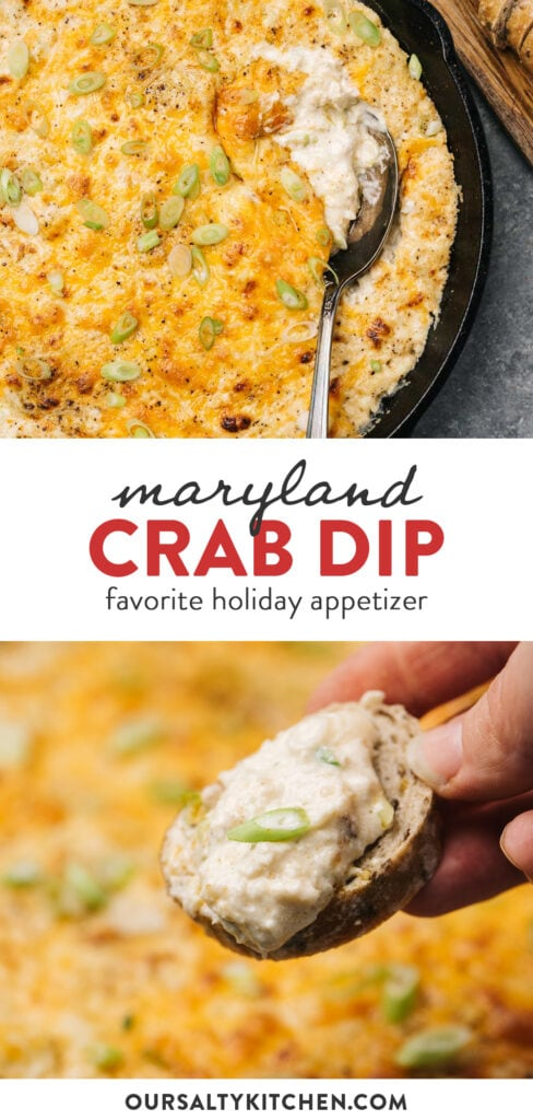 Pinterest collage for Maryland style hot crab dip recipe.