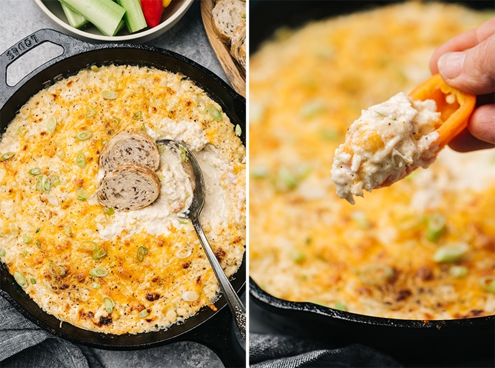 Side by side images showing what to serve with crab dip - bread, or mini peppers for keto.