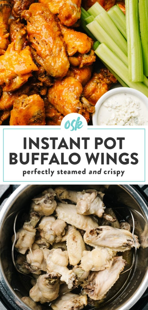 Pinterest collage for an instant pot chicken wings recipe.