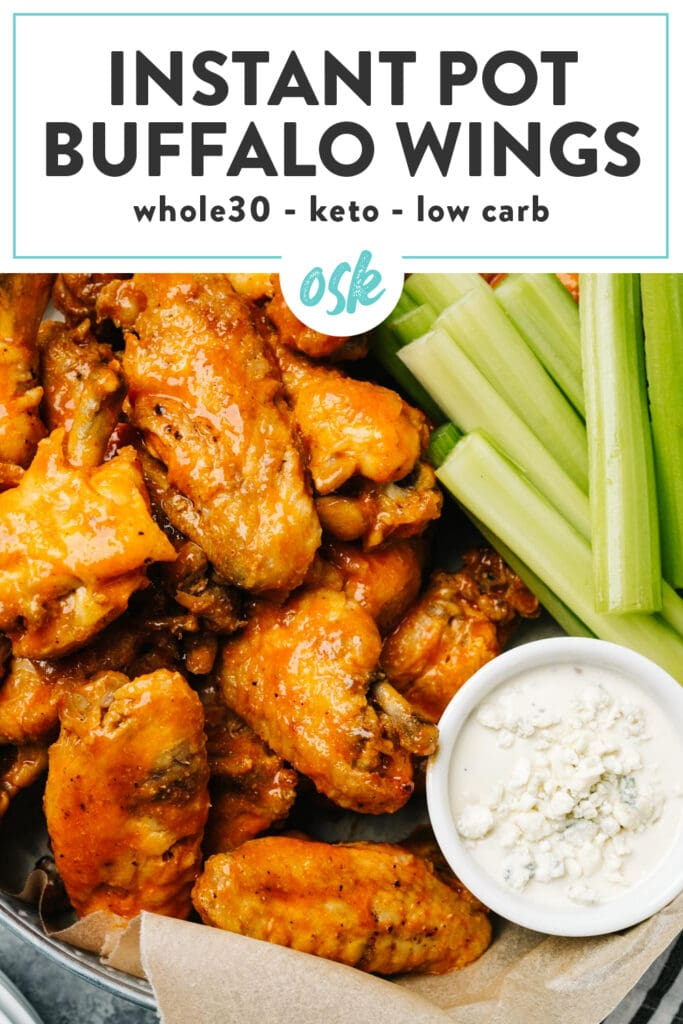 Pinterest image for an instant pot chicken wings recipe.