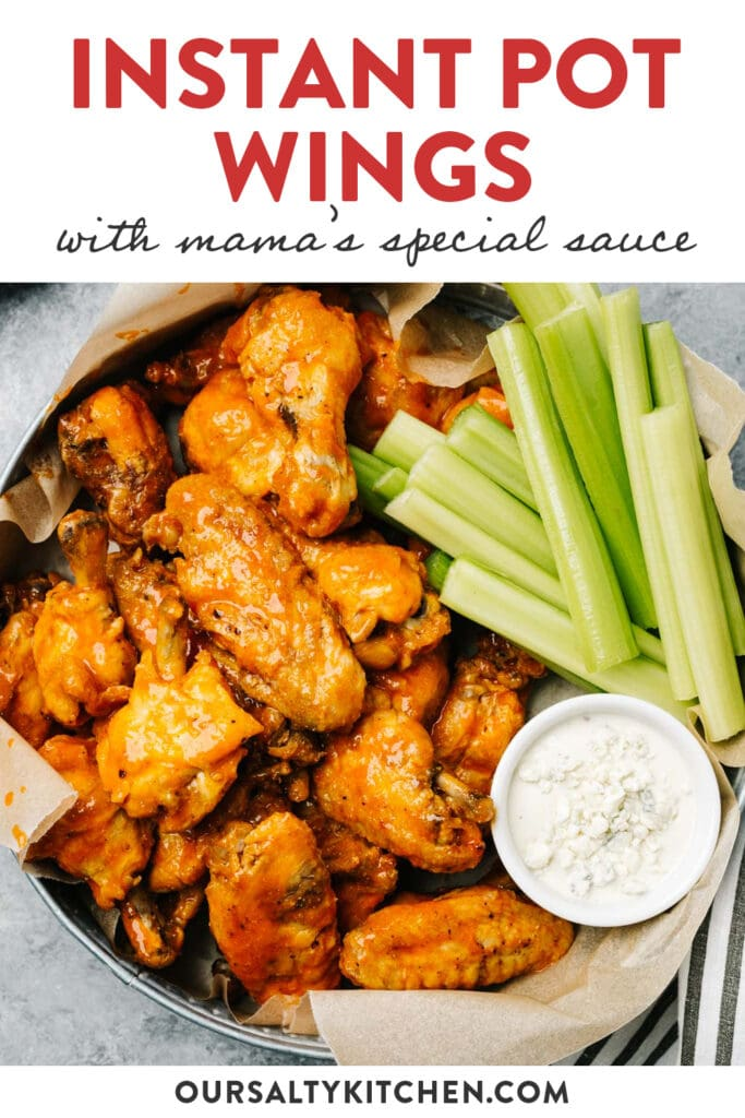 Pinterest image for instant pot buffalo wings with homemade hot sauce.