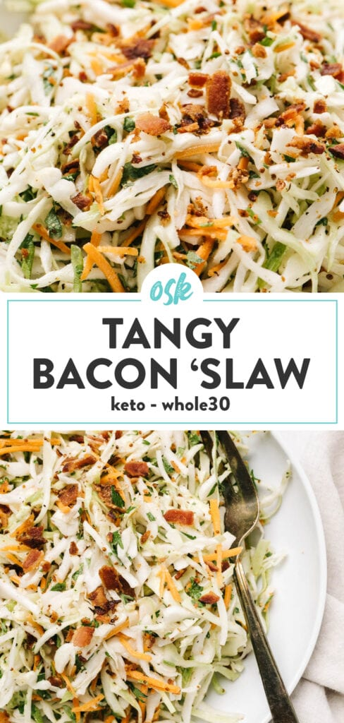 Pinterest collage for whole30 and keto bacon coleslaw recipe.