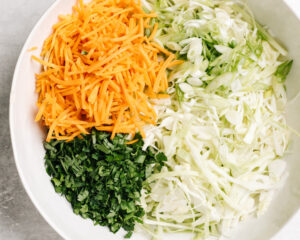 Shredded green cabbage, chopped parsley, shredded carrots, and thinly sliced green onion in a large mixing bowl.